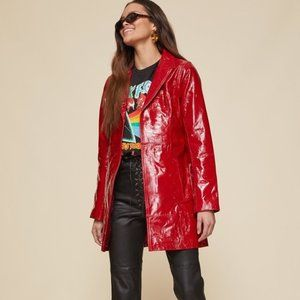 Revolve LPA Red Patent Leather Belted Trench